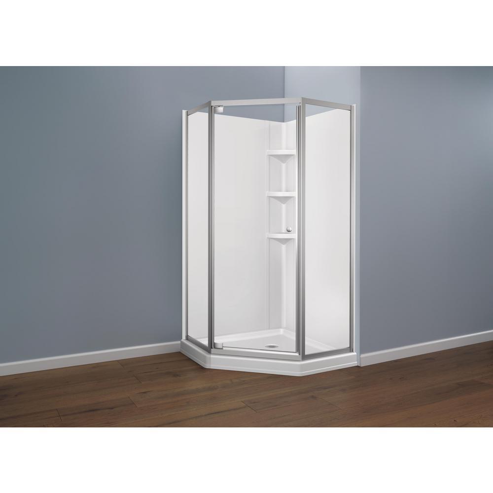 38.25 in. x 38.25 in. Single Threshold Neo Angle Corner Shower Base in White