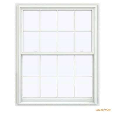 43.5 in. x 47.5 in. V-2500 Series White Vinyl Double Hung Window with Colonial Grids/Grilles