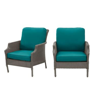 Grayson Ash Gray Wicker Outdoor Patio Lounge with Sunbrella Peacock Blue-Green Cushions (2-Pack)