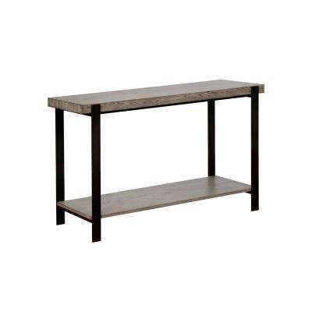 Lola Grey Wash With Sand Black Metal Sofa Table