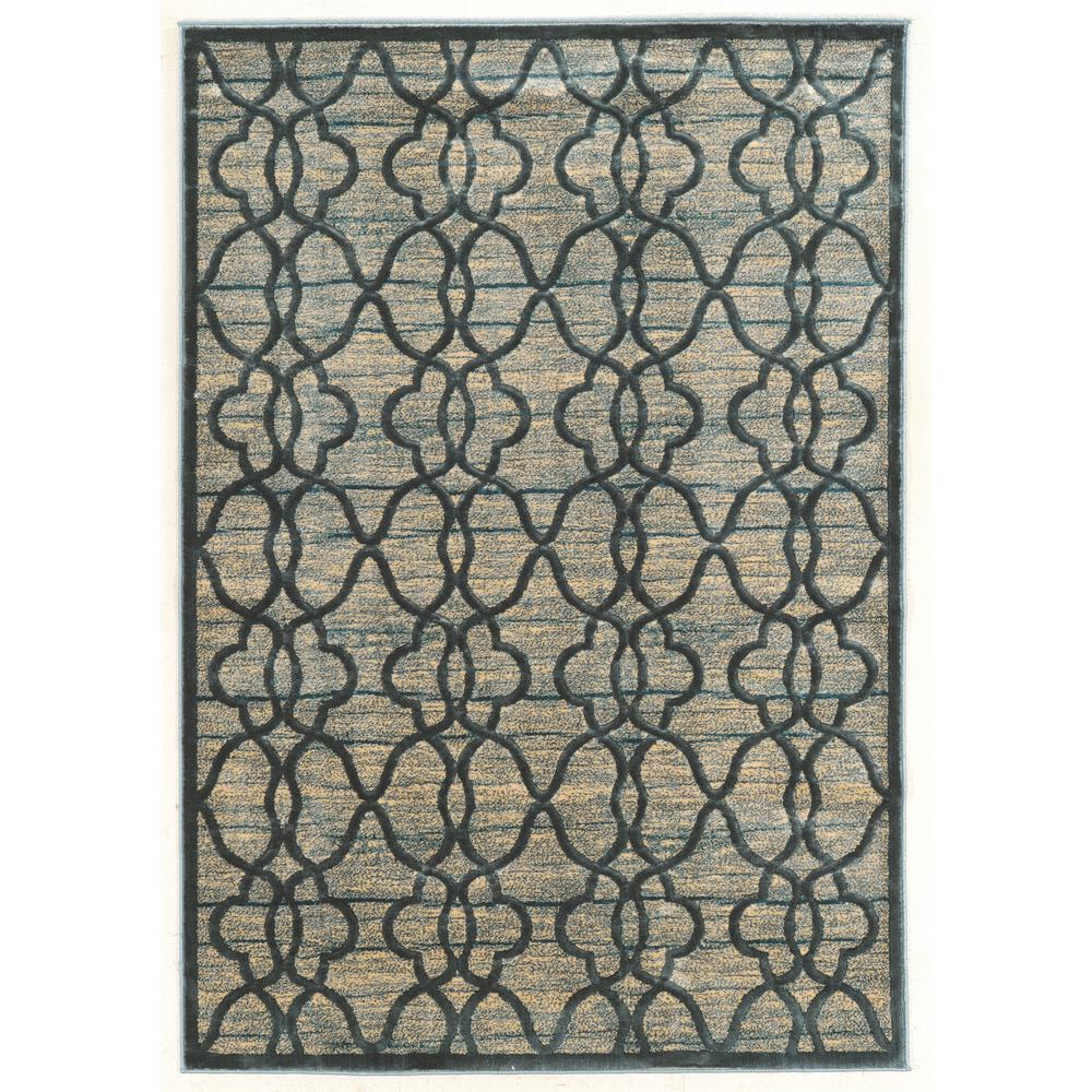 Platinum Raw Iron Blue and Cream 8 ft. x 11 ft. Rectangle Area Rug, Blue/Ivory