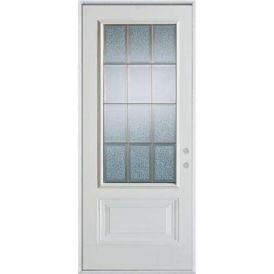 32 in. x 80 in. Geometric Clear and Zinc 3/4 Lite 1-Panel Painted White Left-Hand Inswing Steel Prehung Front Door
