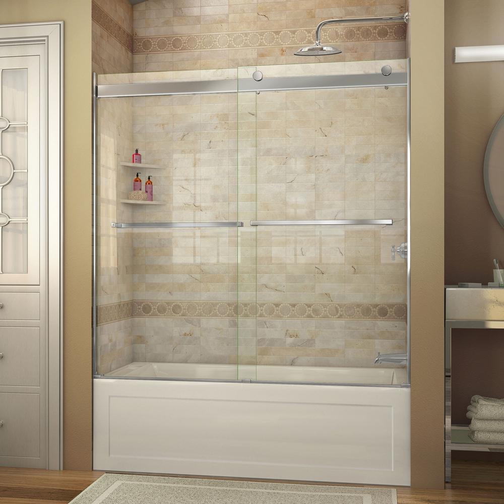 Essence 56 in. to 60 in. x 60 in. Semi-Frameless Sliding Tub Door in Chrome