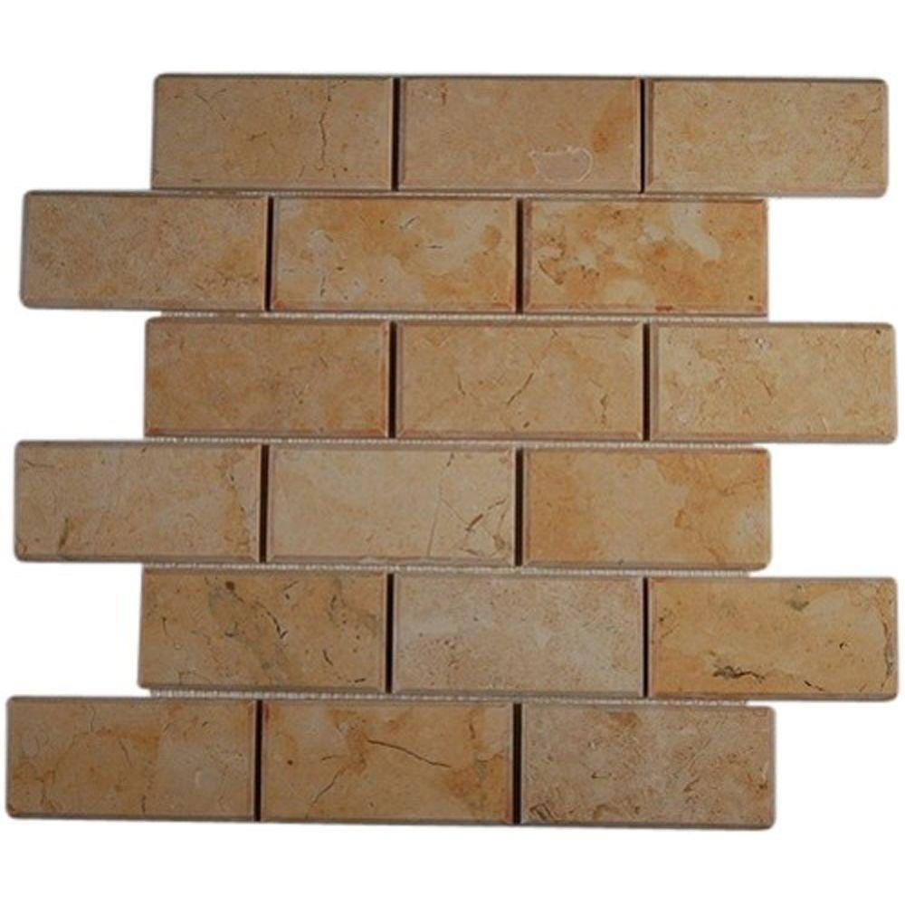 Ivy Hill Tile Jerusalem Gold Beveled 12 in. x 12 in. x 8 mm Natural Stone Floor and Wall Tile