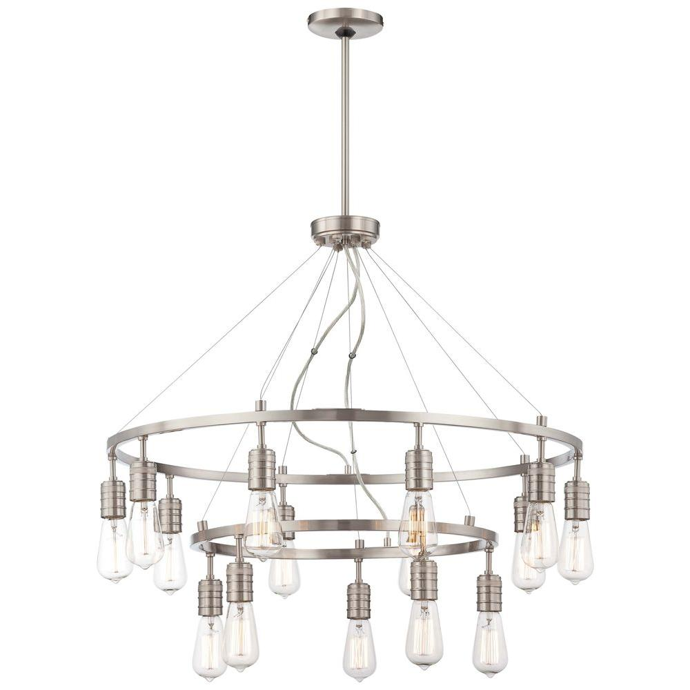 Minka lavery tilbury 6 light polished nickel chandelier 4986 613 downtown edison 15 light brushed nickel chandelier arubaitofo Choice Image