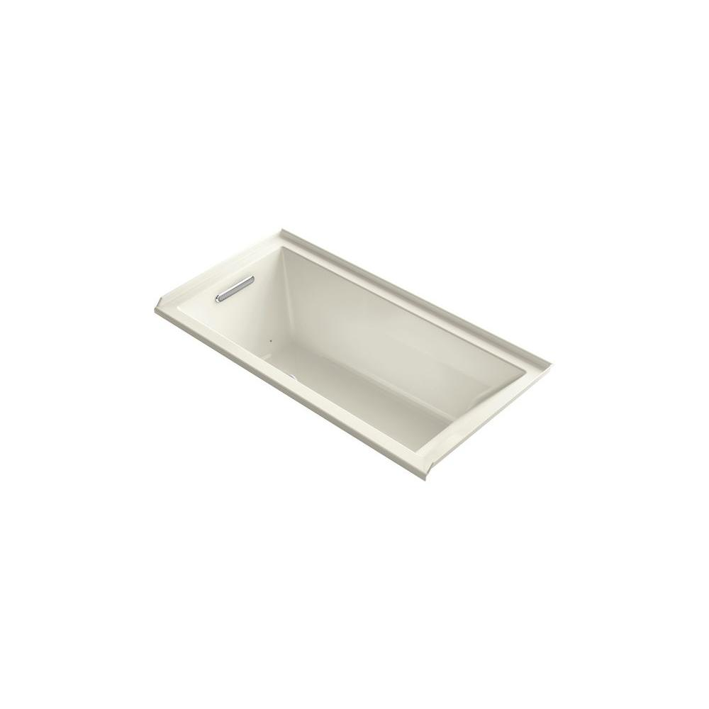 KOHLER Underscore 5 ft. Air Bath Tub with Left Drain in Biscuit