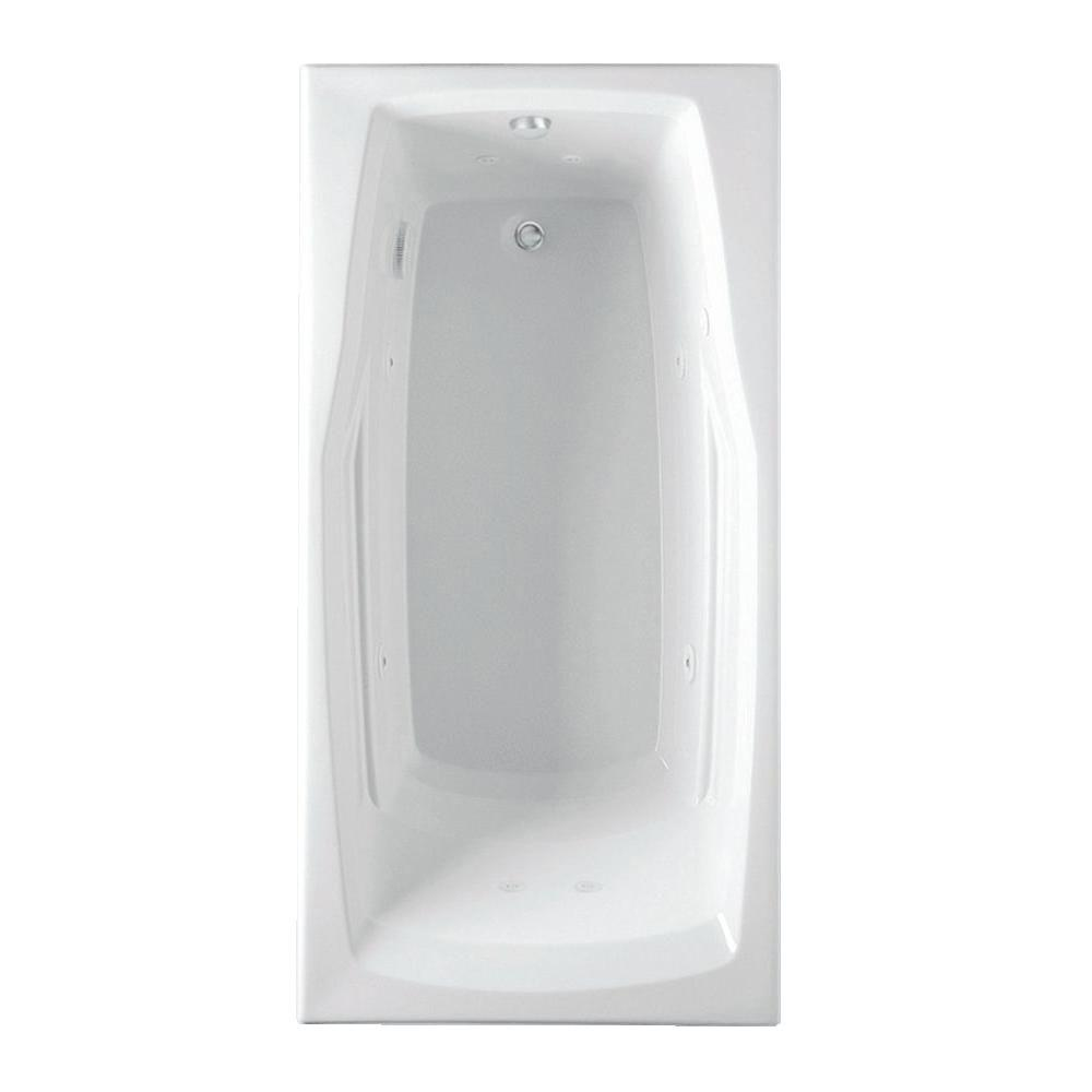 Aquatic Deauville 5 ft. Reversible Drain Acrylic Whirlpool Bath Tub in White
