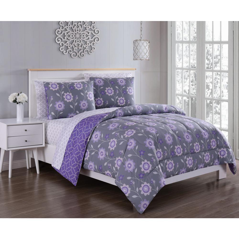 Britt 5-Piece Purple/Grey Twin Bed in a Bag Set