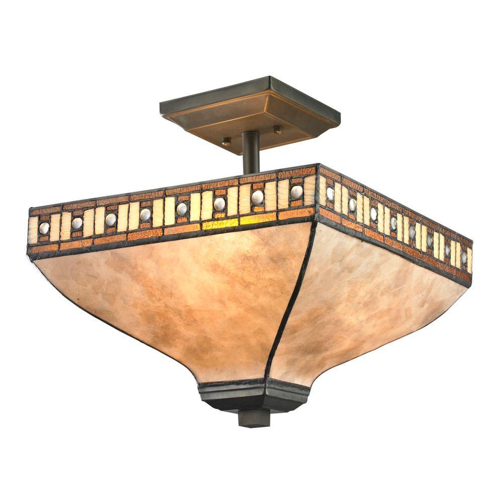 Rose 3-Light Java Bronze Semi-Flush Mount Light