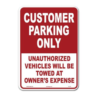 10 in. x 14 in. Customer Parking Sign Printed on More Durable Thicker Longer Lasting Plastic Styrene