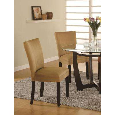 castana collection gold and cappuccino parson chair set of 2