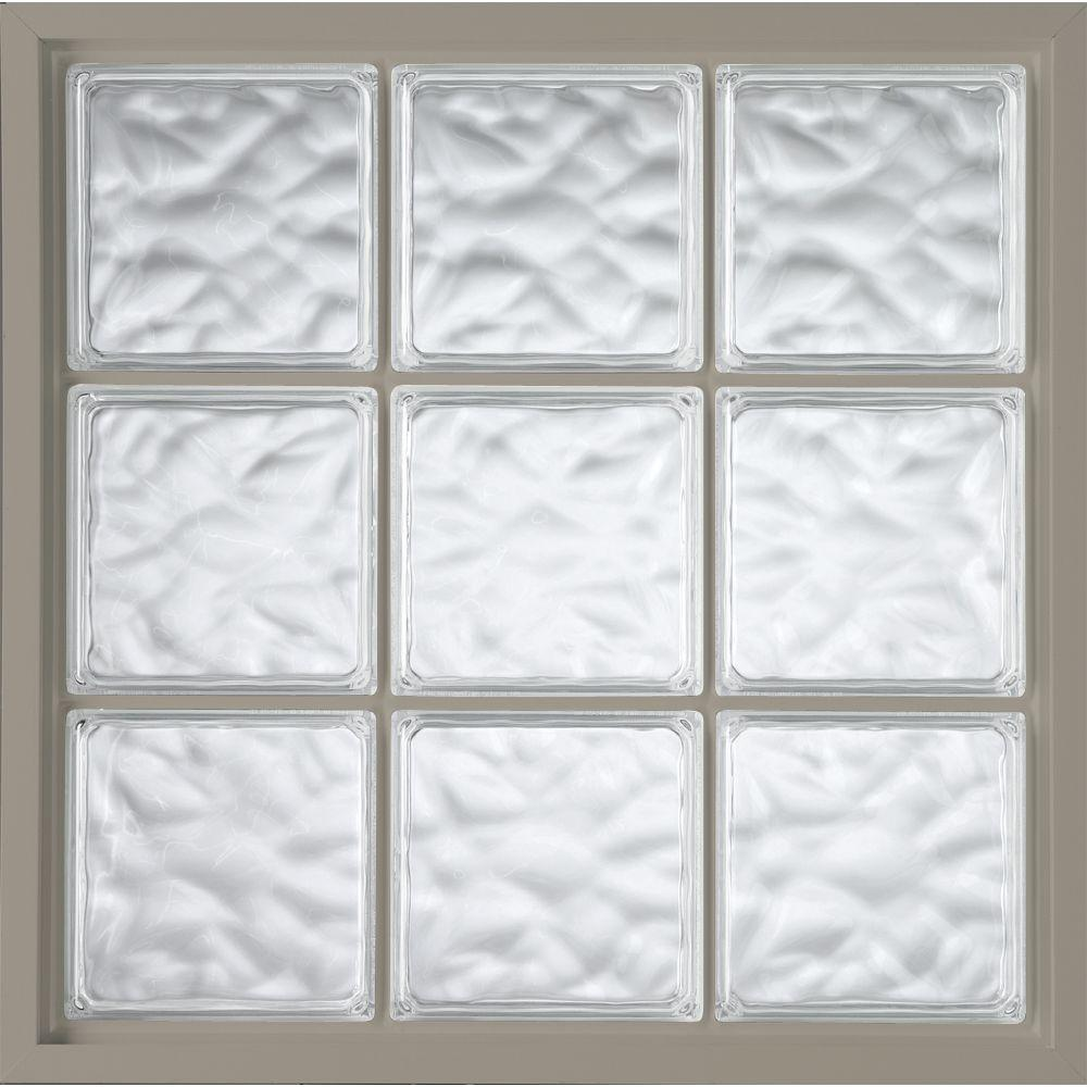 Hy-Lite 46.75 in. x 46.75 in. Glass Block Fixed Vinyl Windows Driftwood, Wave Pattern Glass - Driftwood