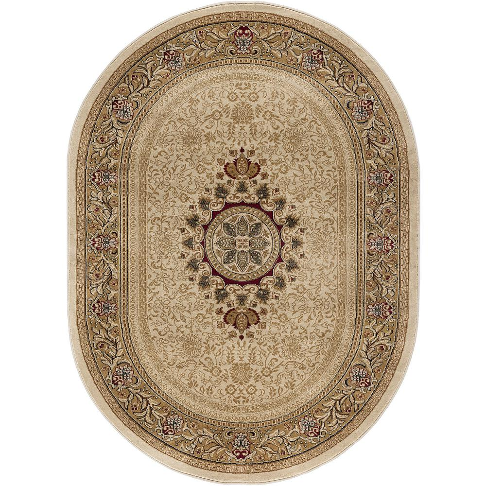 Tayse Rugs Sensation Ivory 6 Ft. 7 In. X 9 Ft. 6 In