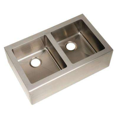 Farmhouse Apron Front Freestanding 33 in. Double Bowl Kitchen Sink in Stainless Steel
