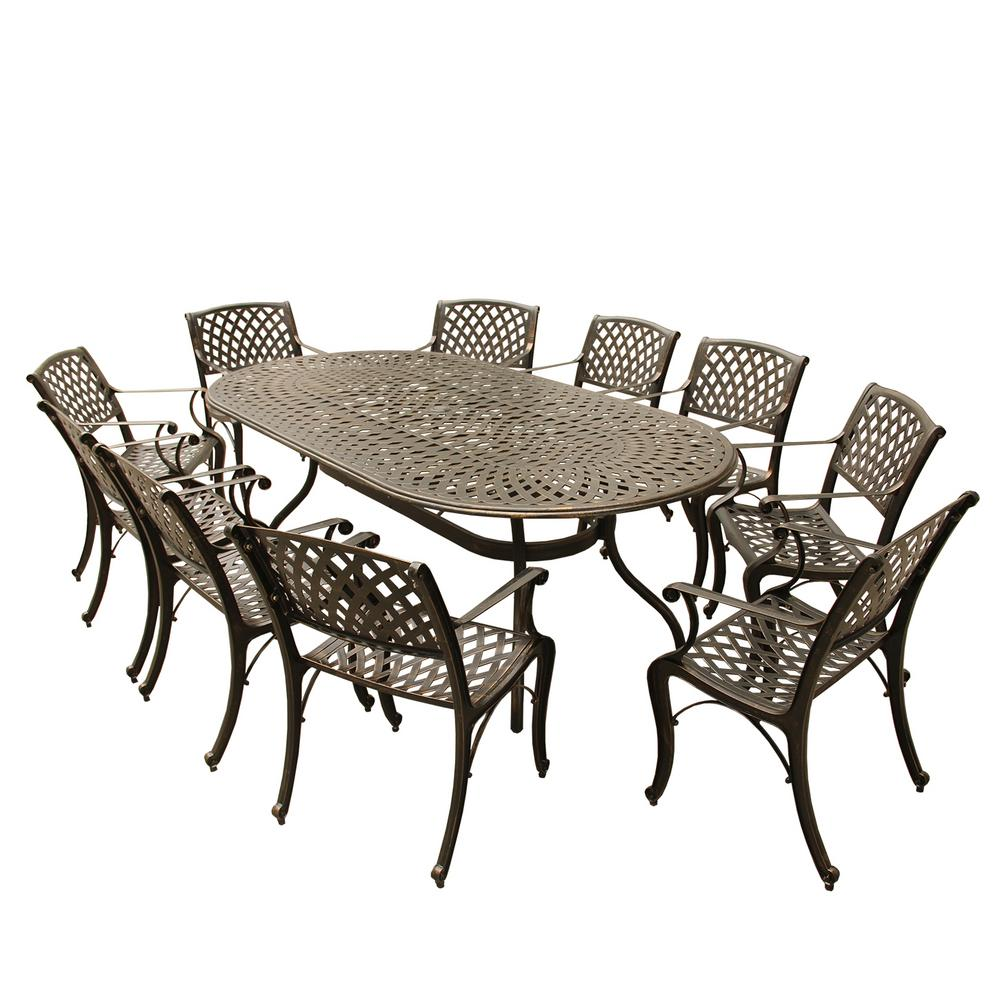 Dining Set For 10: Contemporary Modern 11-Piece Bronze Aluminum Oval Outdoor