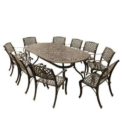 Contemporary Modern 11-Piece Bronze Aluminum Oval Outdoor Dining Set with 10-Chairs