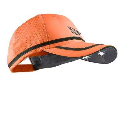POWERCAP Safety Visibility LED Hat 25/10 Ultra-Bright Hands Free Lighted Battery Powered Headlamp Hi-Vis Orange