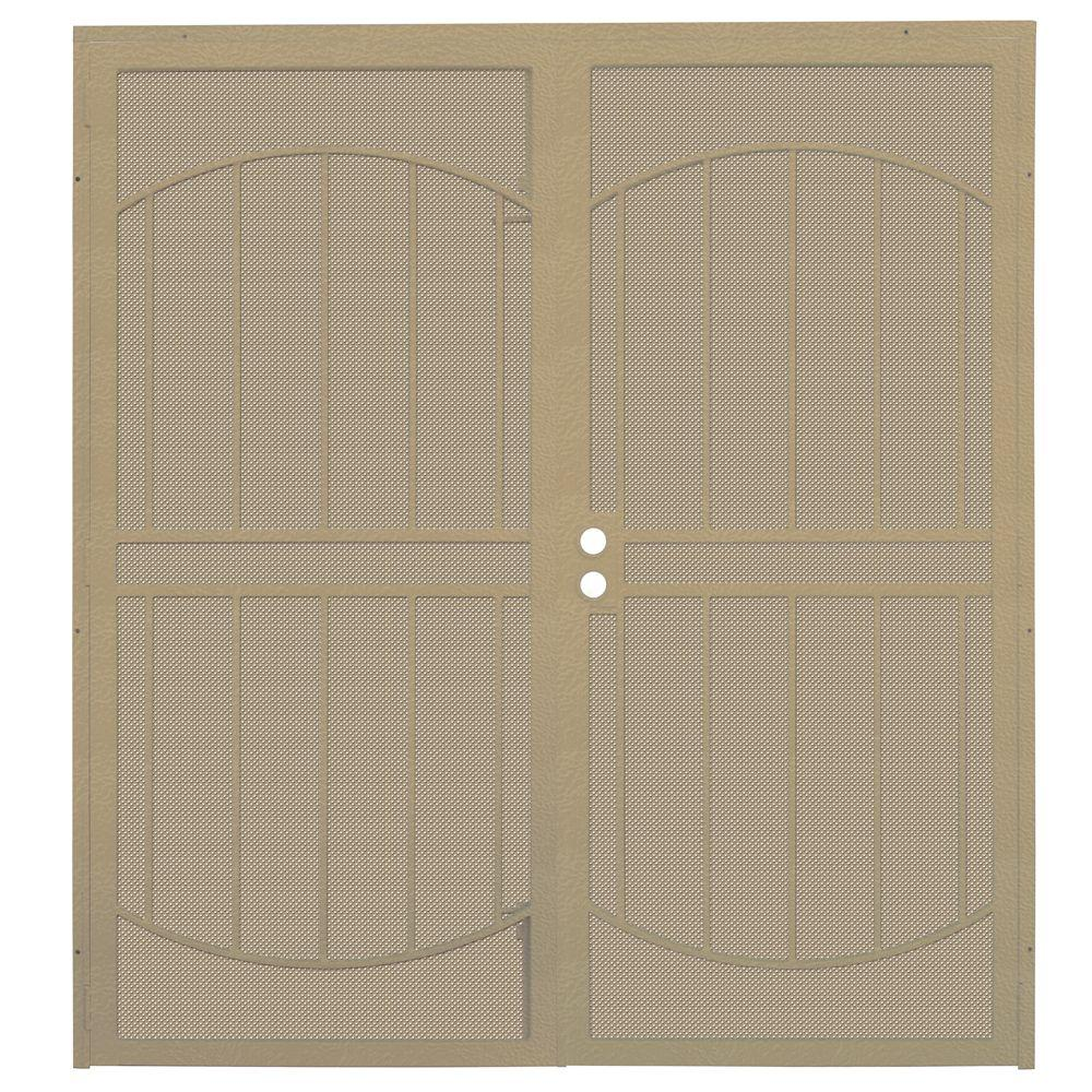 Arcadamax Tan Surface Mount Outswing Steel Security Double Door With Perforated Metal Screen