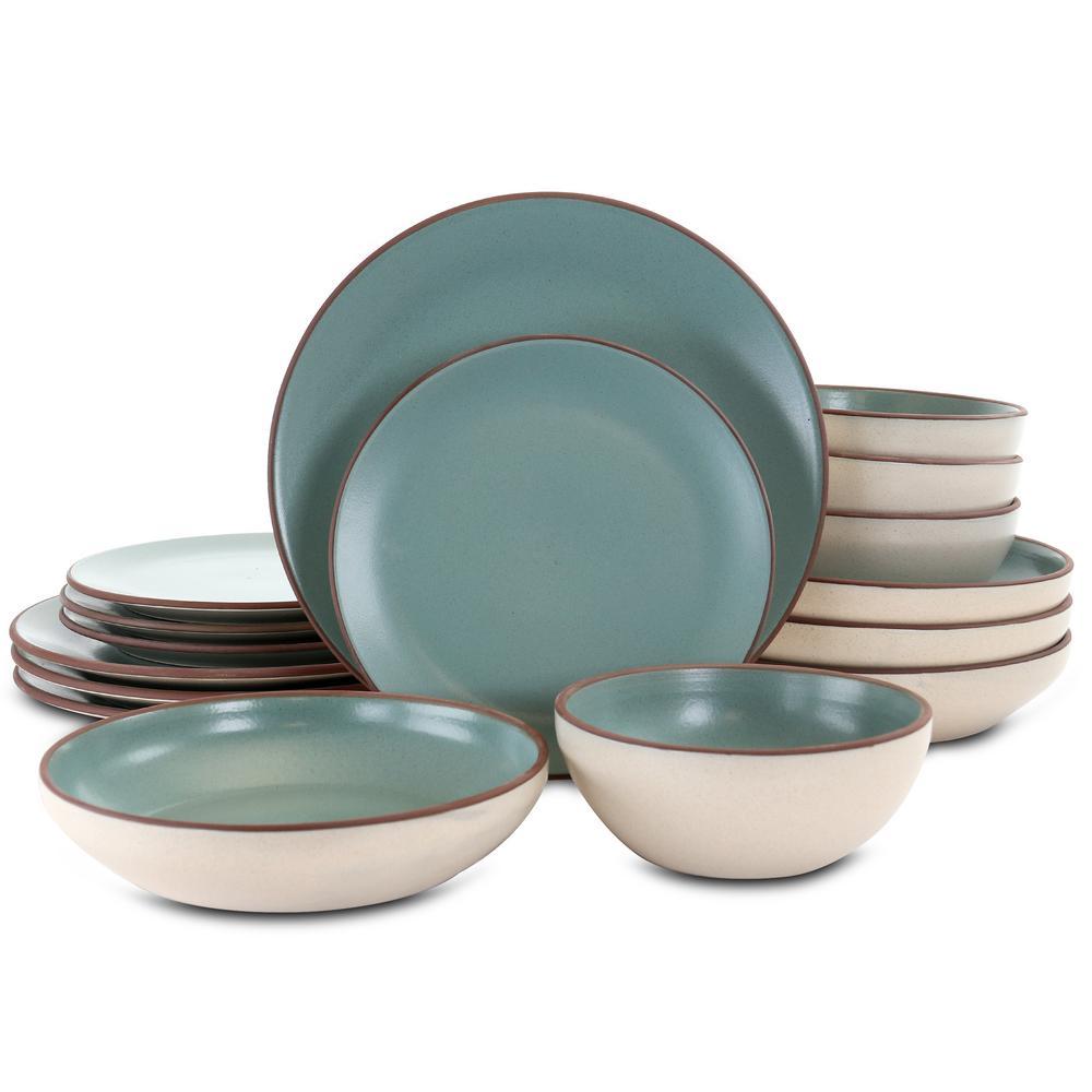 Contempo Classic 16-Piece Casual Green Terra Cotta Dinnerware Set (Service for 4)