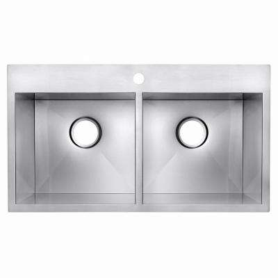 Handmade Drop-in Stainless Steel 32 in. x 18 in. x 9 in. 1-Hole 50/50 Double Bowl Kitchen Sink in Brushed Finish
