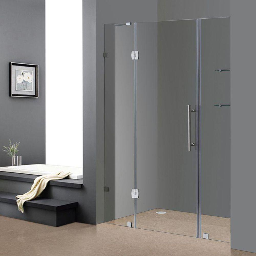 Aston Soleil 60 in. x 75 in. Completely Frameless Hinged Shower Door ...