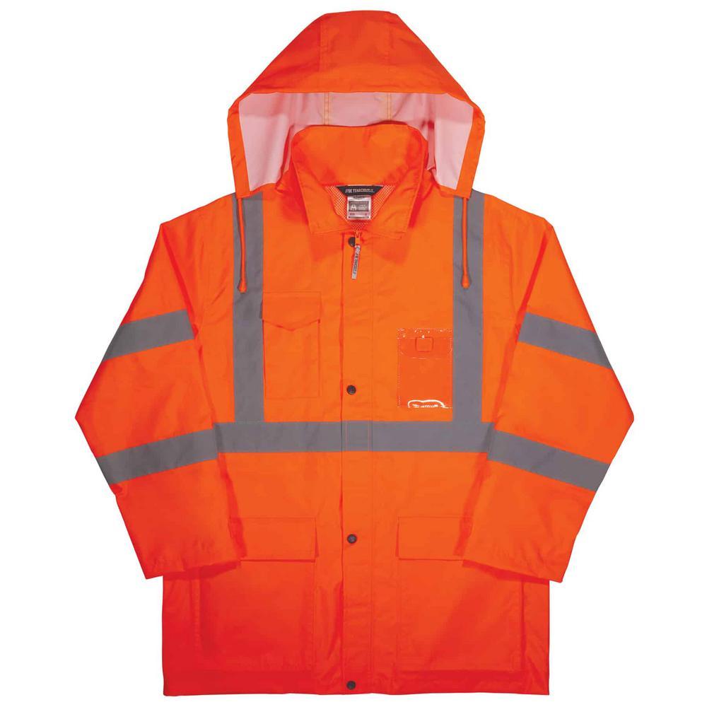 Ergodyne Glowear 8366 Xl Orange Lightweight Hi Vis Rain Jacket Type R Class 3 8366 The Home Depot