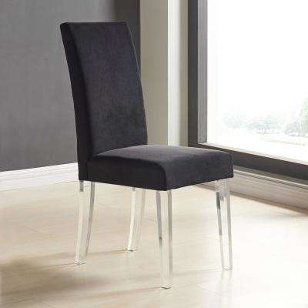 Dalia 40 in. Black Velvet and Acrylic Finish Modern Dining Chair (Set of 2)