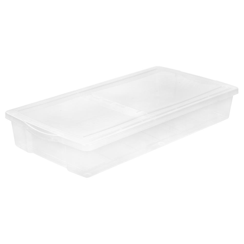 IRIS 58 Qt. Split-Lid Underbed Storage Box in Clear