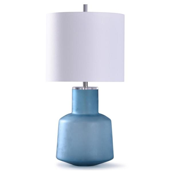 Kirton 32 in. Frosted Blue Glass Table Lamp with Acrylic and White Shade