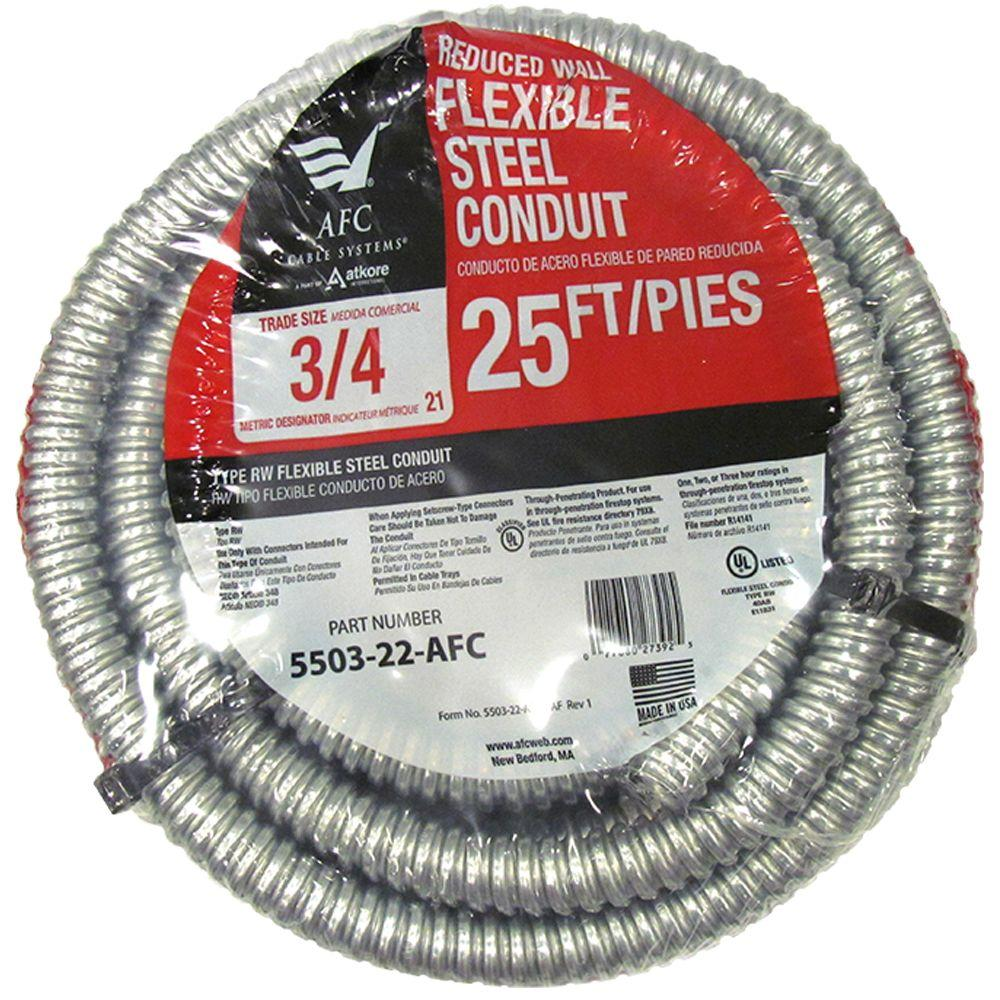 Afc Cable Systems 3 4 X 25 Ft Flexible Steel Conduit 5503 22 Wiring