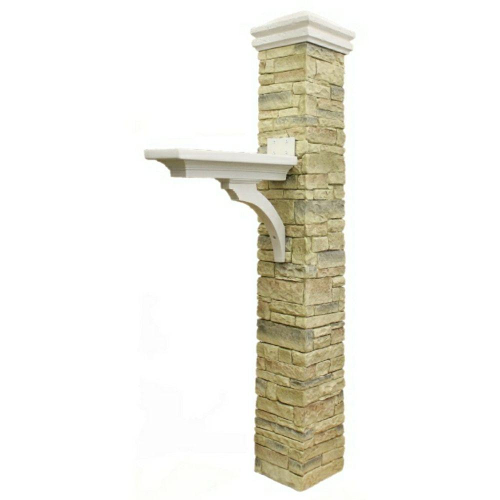 Eye Level Stacked Stone Beige Brace and Curved Cap Mailbox Post