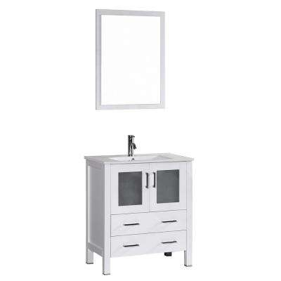 Bosconi 30 in. W Single Bath Vanity in White with Ceramic Vanity Top with White Basin and Mirror