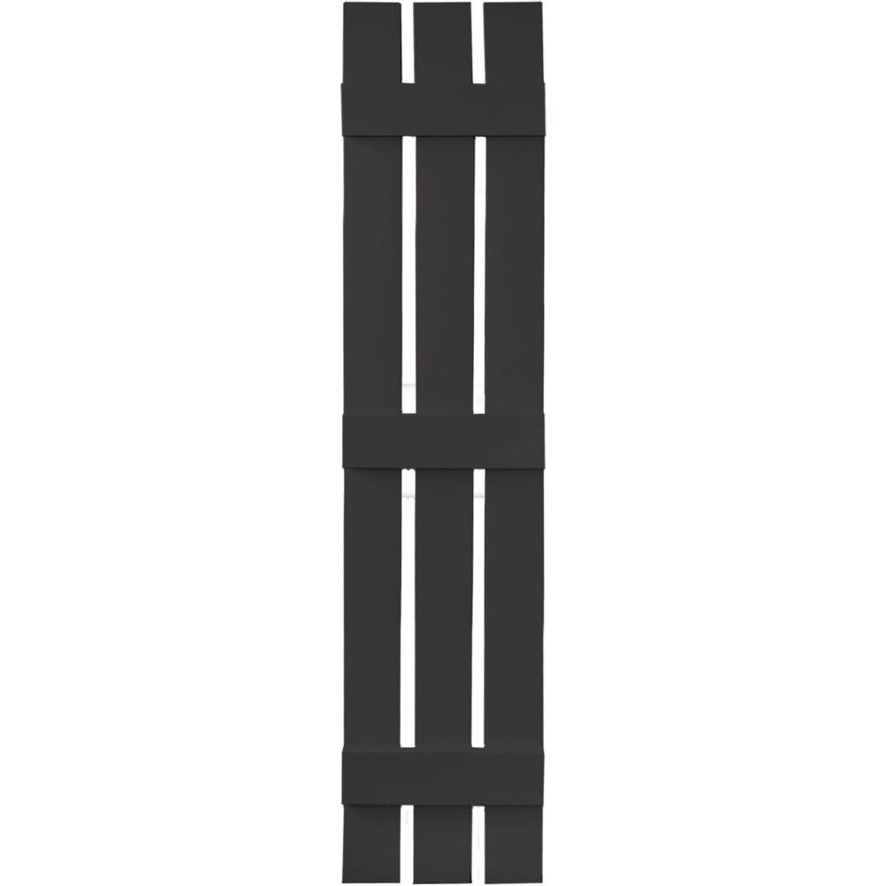 12 in. x 59 in. Board-N-Batten Shutters Pair, 3 Boards Spaced #002 Black