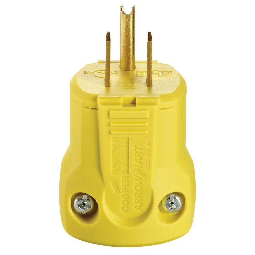 15 Amp 125-Volt Heavy Duty Grade Quick Grip Plug, Yellow