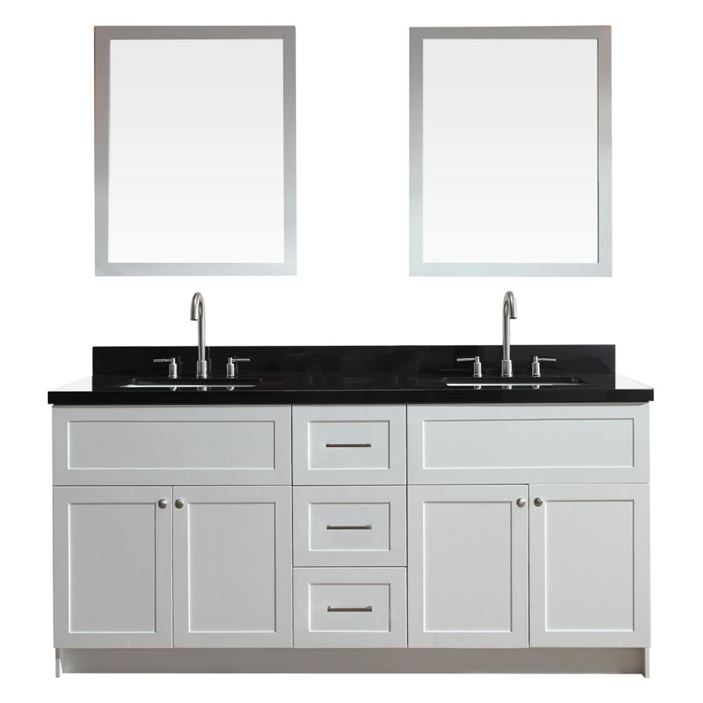 Ariel hamlet 73 in bath vanity in white with granite for Black and white bathroom vanity
