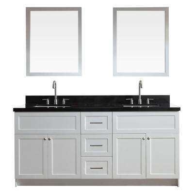 Hamlet 73 in. Vanity in White with Granite Vanity Top in Absolute Black with White Basins and Mirrors