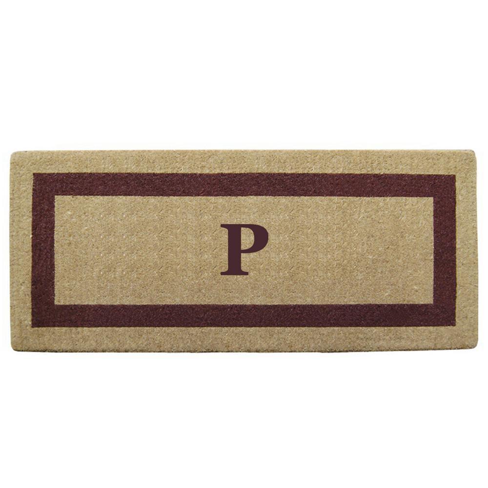 Single Picture Frame Brown 24 in. x 57 in. Heavy Duty Coir Monogrammed P Door Mat