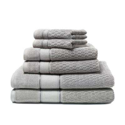 Royale 6-Piece 100% Turkish Cotton Bath Towel Set in Silver