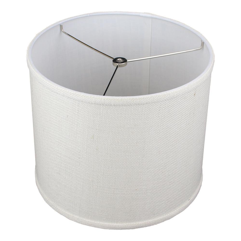 12 in. Top Diameter x 10 in. H x 12 in. Bottom Diameter Burlap Off White Drum Lamp Shade