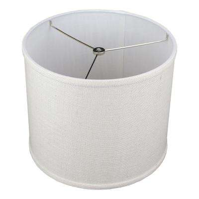12 in. Top Diameter x 10 in. H x 12 in. Bottom Diameter Burlap Off White Drum Lamp Shade