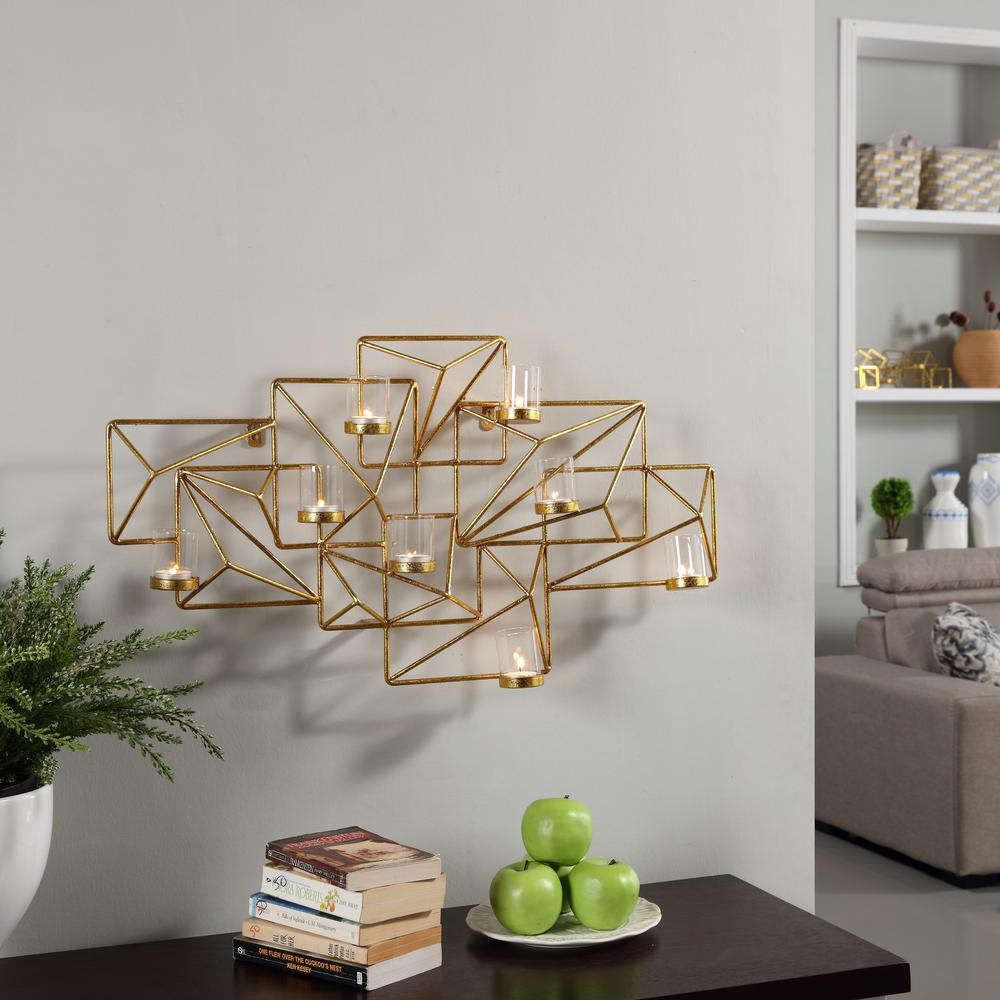 Danya B Sparkling Gold Metal Geometric Wall Candle Sconce Ds439