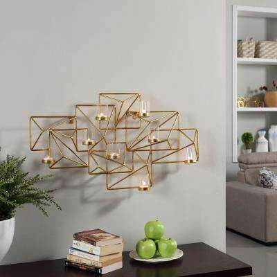 Sparkling Gold Metal Geometric Wall Candle Sconce