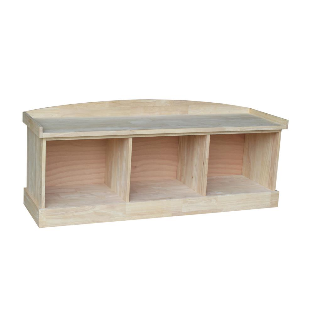 International Concepts Unfinished Storage Bench Be 150 The Home Depot