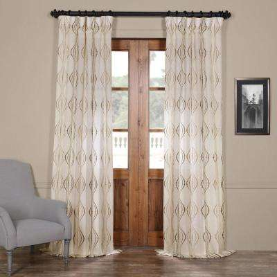 Suez Embroidered Faux Linen Sheer Curtain in Bronze - 50 in. W x 84 in. L