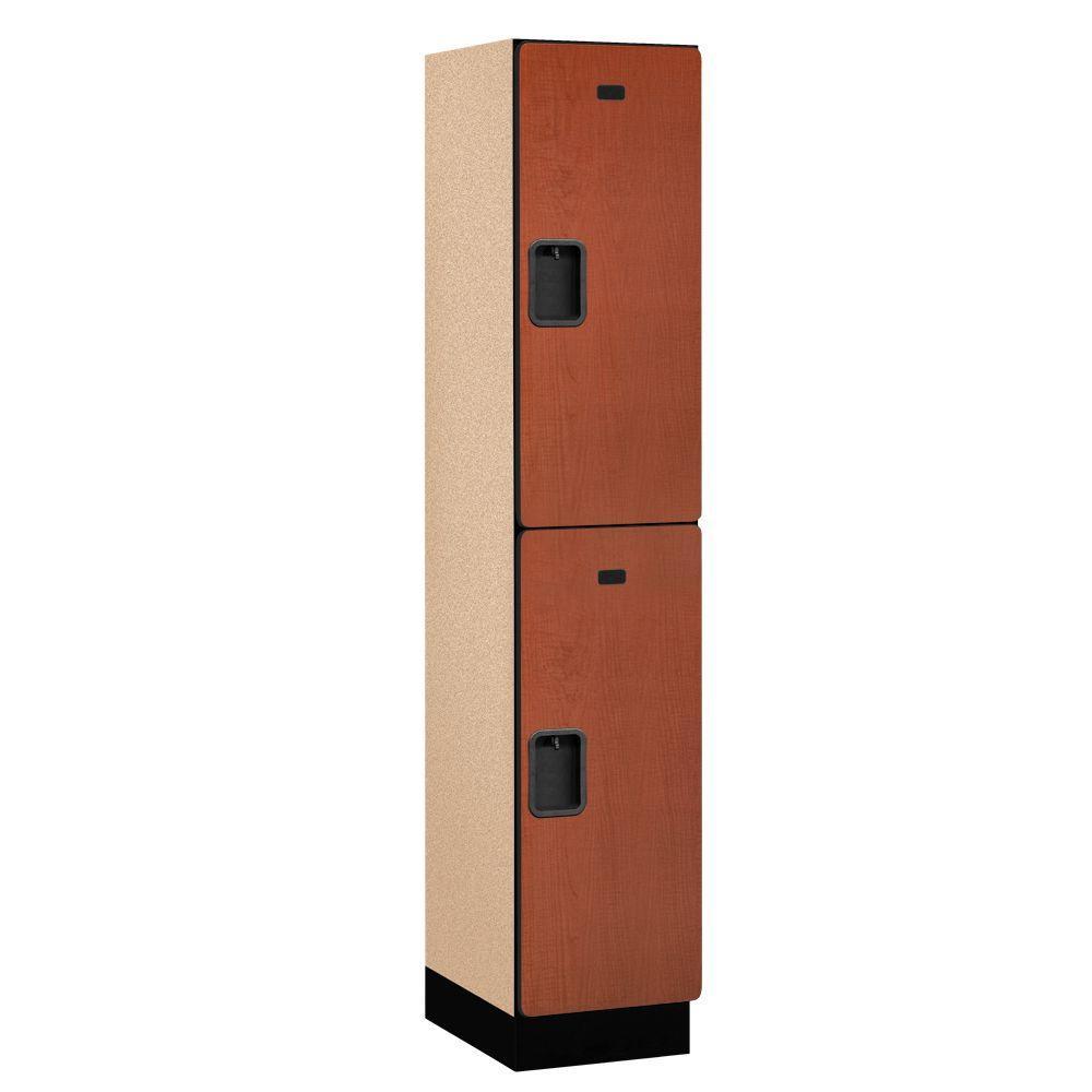 22000 Series 2-Tier Wood Extra Wide Designer Locker in Cherry - 15 in. W x 76 in. H x 18 in. D