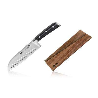 TS Series Sandvik Swedish Steel Forged 7 in. Santoku Knife and Wood Sheath Set