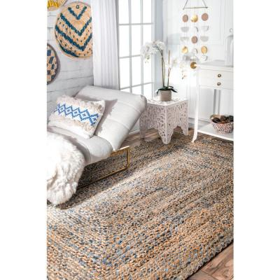 Eliz Striped Farmhouse Jute Blue 8 ft. x 10 ft. Area Rug