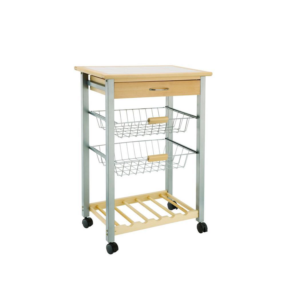 Neu Home Natural Kitchen Cart With Baskets