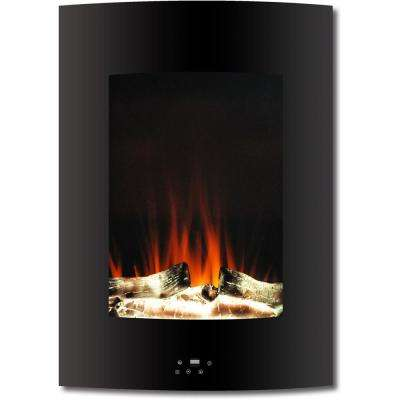 19.5 in. Vertical Electric Fireplace in Black with Multi-Color Flame and Driftwood Log Display