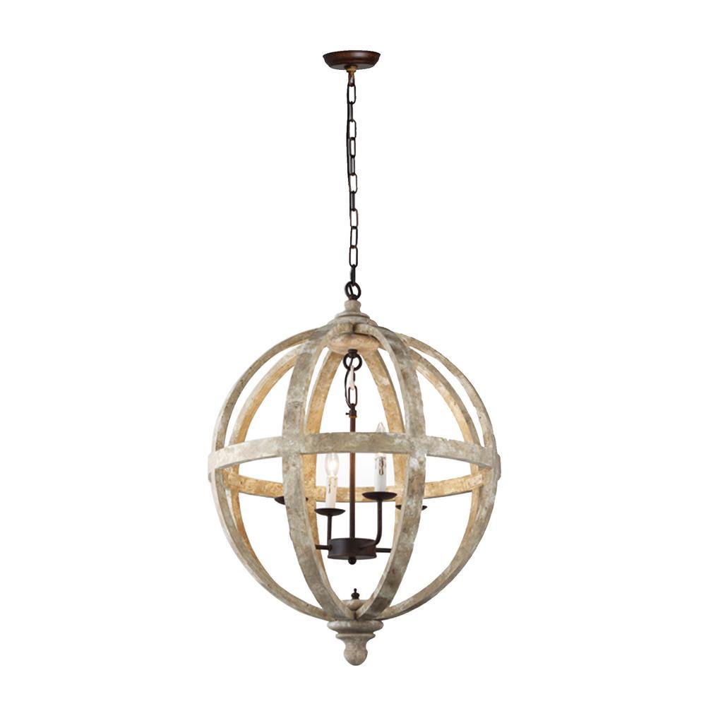 Y decor 4 light rustic black metal and vintage wood pendant orb chandelier